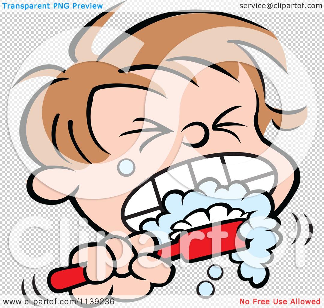 1080x1024 Cartoon Of A Boy Aggressively Brushing His Teeth