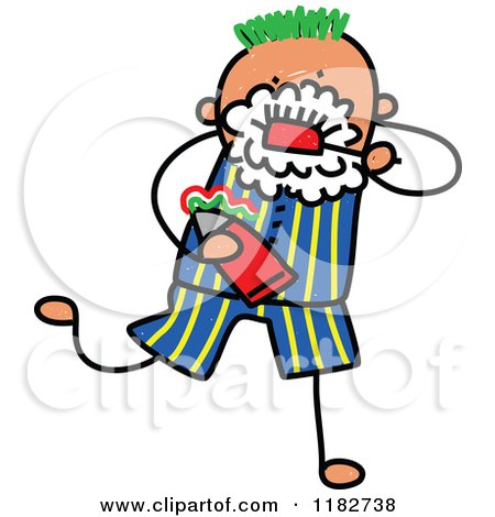 450x470 Cartoon Of A Stick Boy Brushing His Teeth