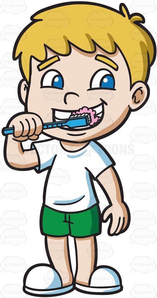 541x1024 A Boy Brushing His Teeth Cartoon Clipart Vector Toons