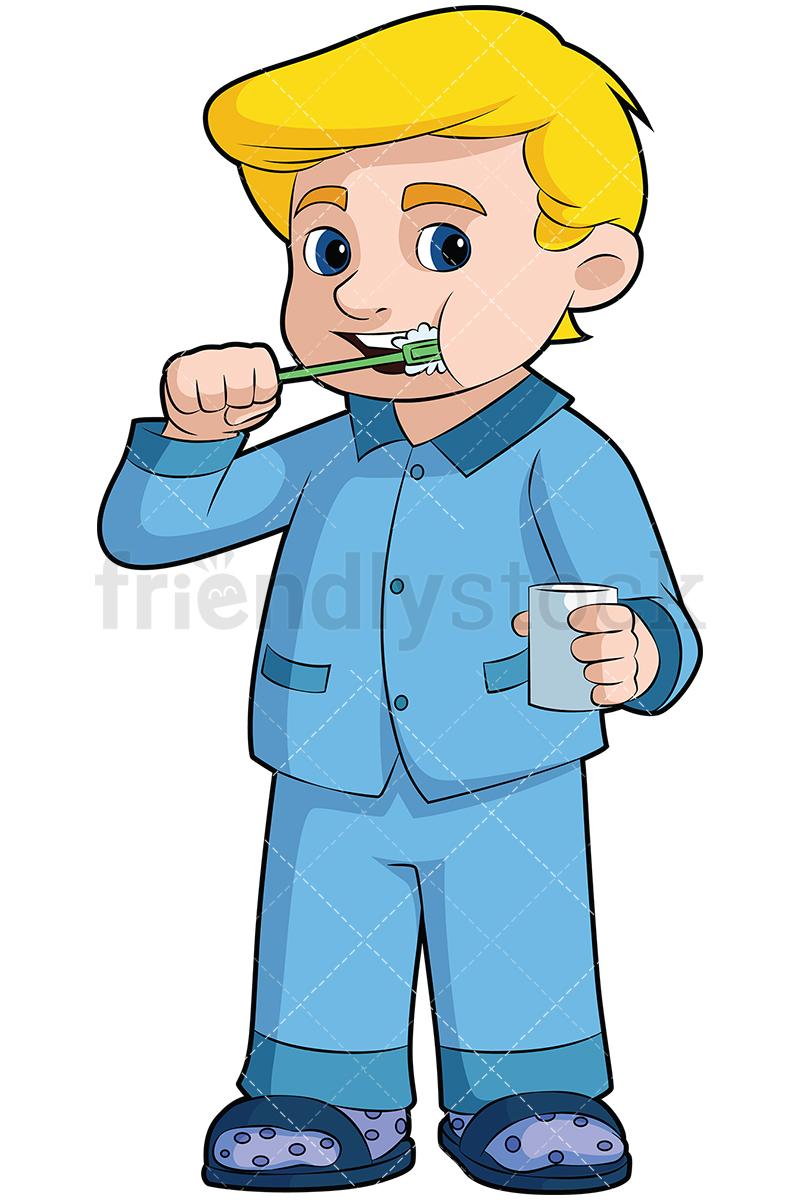 800x1200 Little Boy Brushing His Teeth Vector Cartoon Clipart