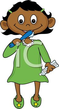 192x350 Picture Of An African American Girl Brushing Her Teeth In A Vector
