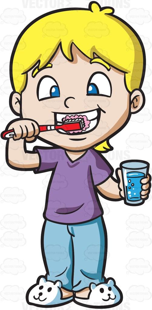 502x1024 A Cute Boy Brushing His Teeth Cartoon Clipart Vector Toons
