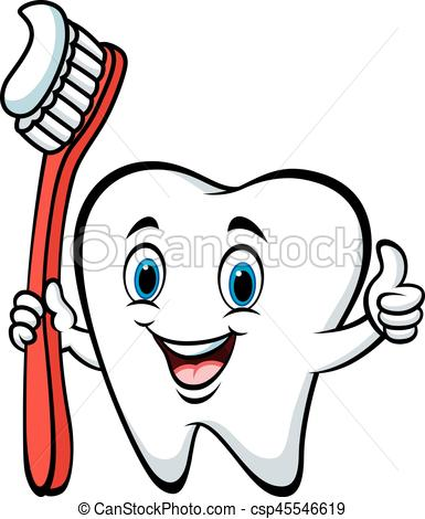 385x470 Vector Illustration Of Cartoon Tooth Holding A Tooth Brush