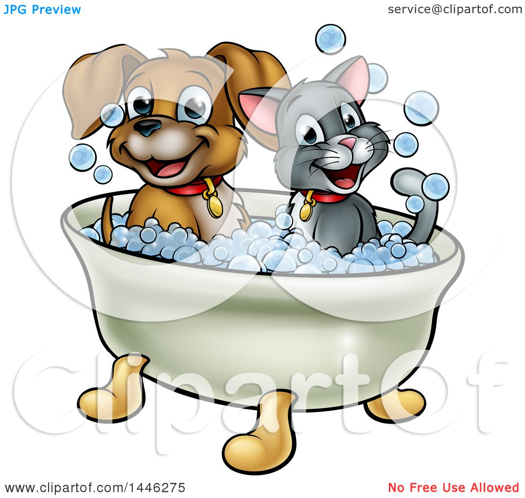 1080x1024 Clipart Of A Cartoon Happy Puppy Dog And Cat Soaking In A Bubble