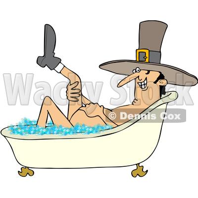400x400 Clipart Of A Cartoon Thanksgiving Pilgrim Man Lifting Up A Leg
