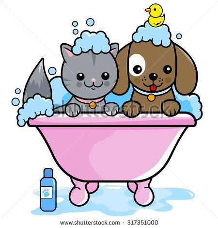 450x470 Illustration Of A Dog And A Cat In A Tub Taking A Bubble Bath