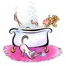 225x225 Bathtub clip art Graphic Depicting A Woman Taking A Bubble