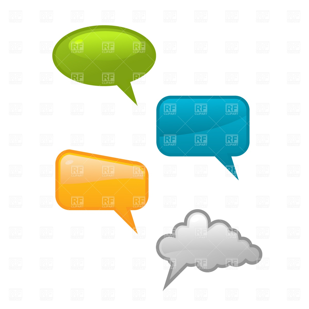 1200x1200 Glossy Speech Bubble Icons Royalty Free Vector Clip Art Image
