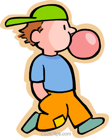 379x480 Boy Blowing A Bubble With Chewing Gum Royalty Free Vector Clip Art