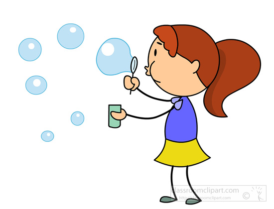 550x420 Girl Bubble Blowing Clipart