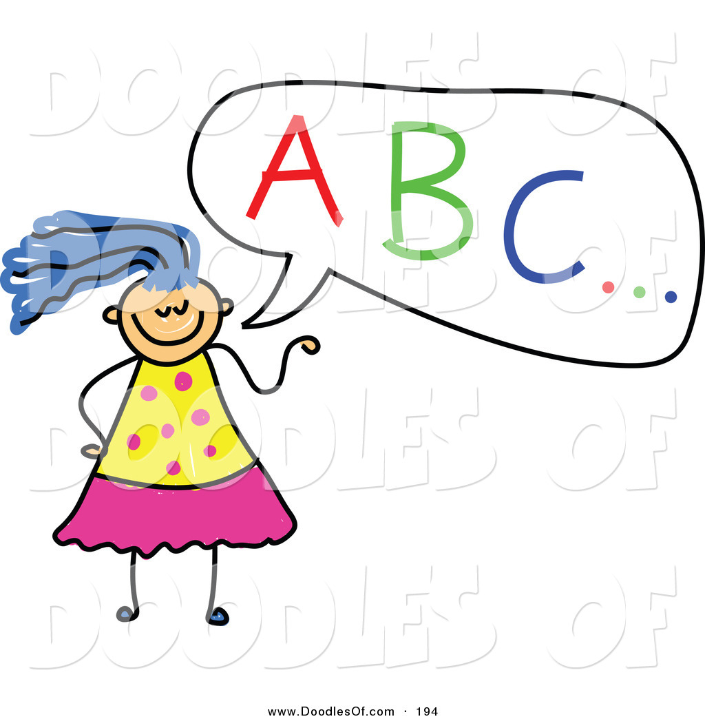 1024x1044 Vector Clipart Of A Childs Sketch Of A Girl With Abc In A Speech