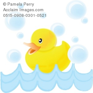 300x299 Clip Art Illustration Of A Baby Duck Swimming With Bubbles