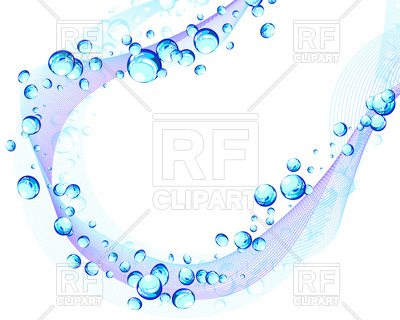 400x320 Blue Wavy Background With Bubbles Royalty Free Vector Clip Art
