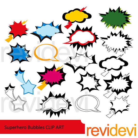 570x570 Superhero Speech Bubbles Clipart Sale