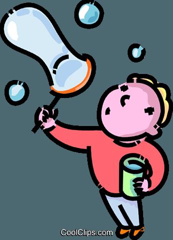 347x480 Boy Blowing Bubbles Royalty Free Vector Clip Art Illustration