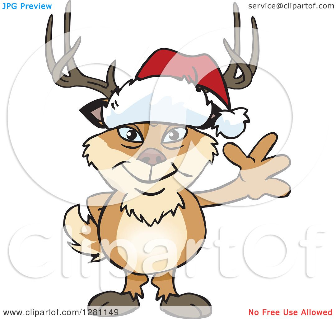1080x1024 Clipart Of A Friendly Waving Buck Deer Wearing A Christmas Santa