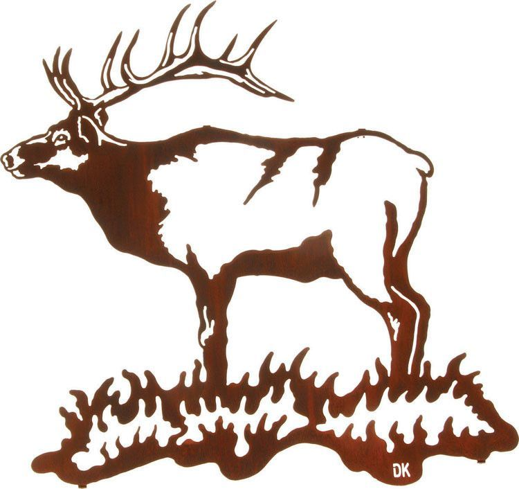 750x706 Standing Buck Cutout Metal Wall Art Hanging