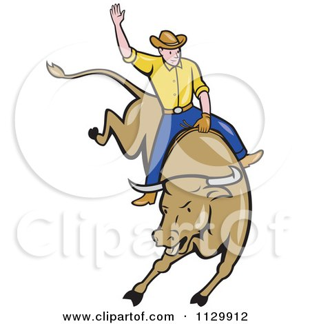 450x470 Clipart Of A Retro Rodeo Cowboy On A Bucking Bull