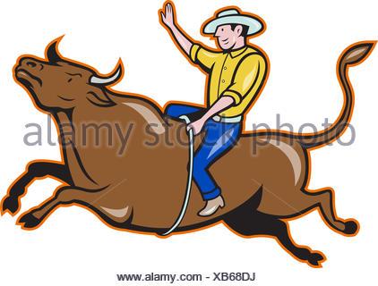 422x320 Rodeo Cowboy Bull Riding Cartoon Stock Vector Art Amp Illustration
