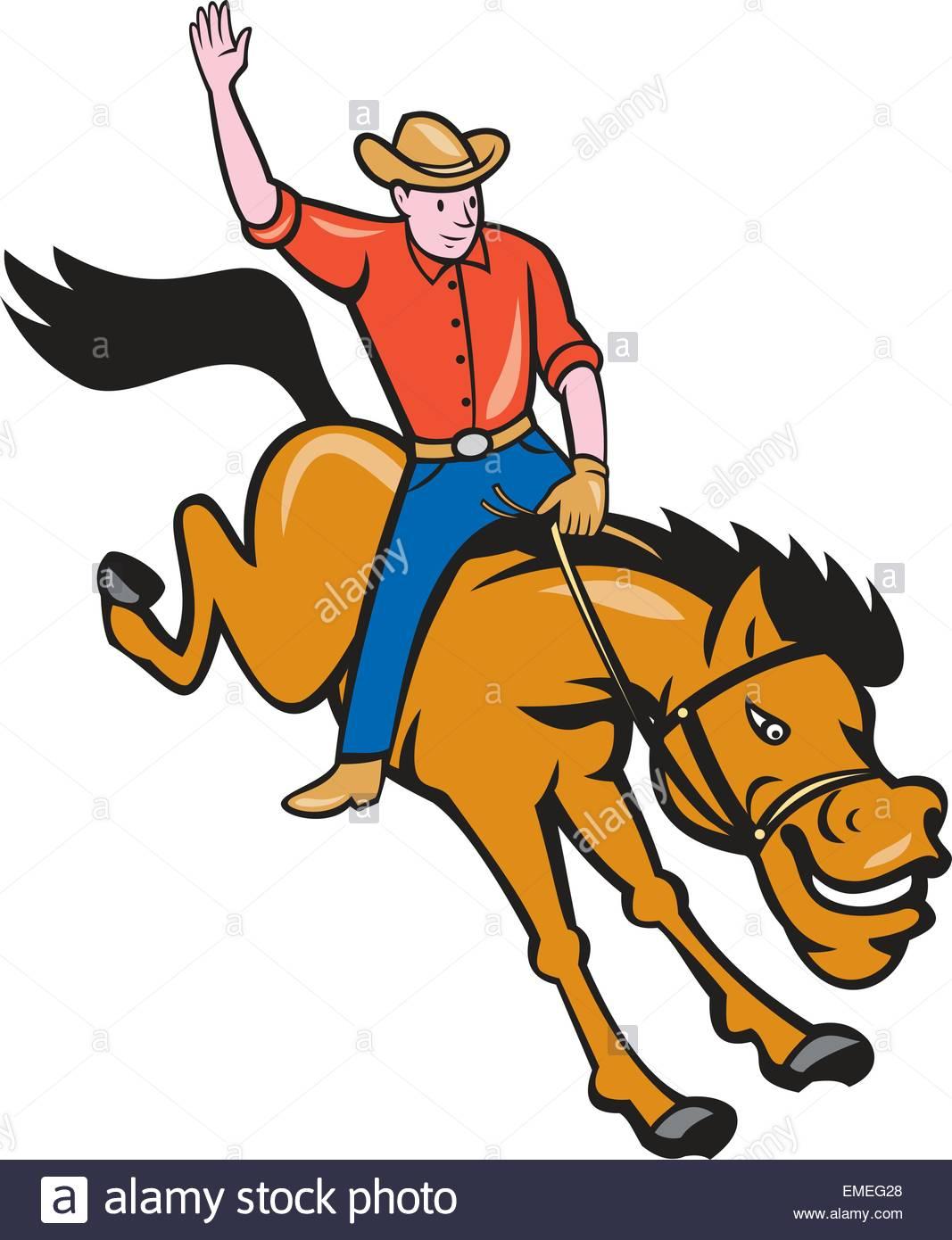 1067x1390 Rodeo Cowboy Riding Bucking Bronco Cartoon Stock Vector Art