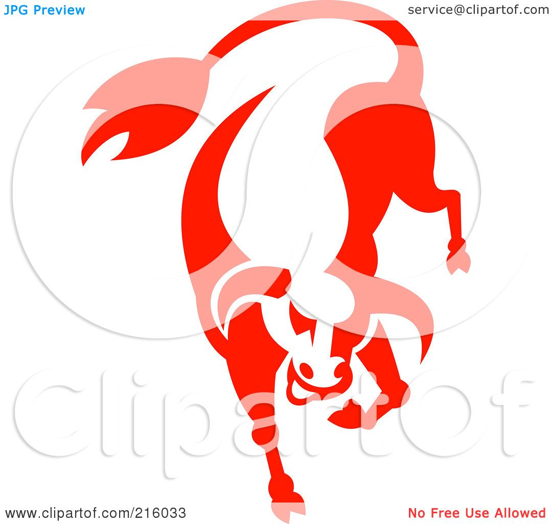 1080x1024 Royalty Free (Rf) Clipart Illustration Of A Red Bucking Bull Logo