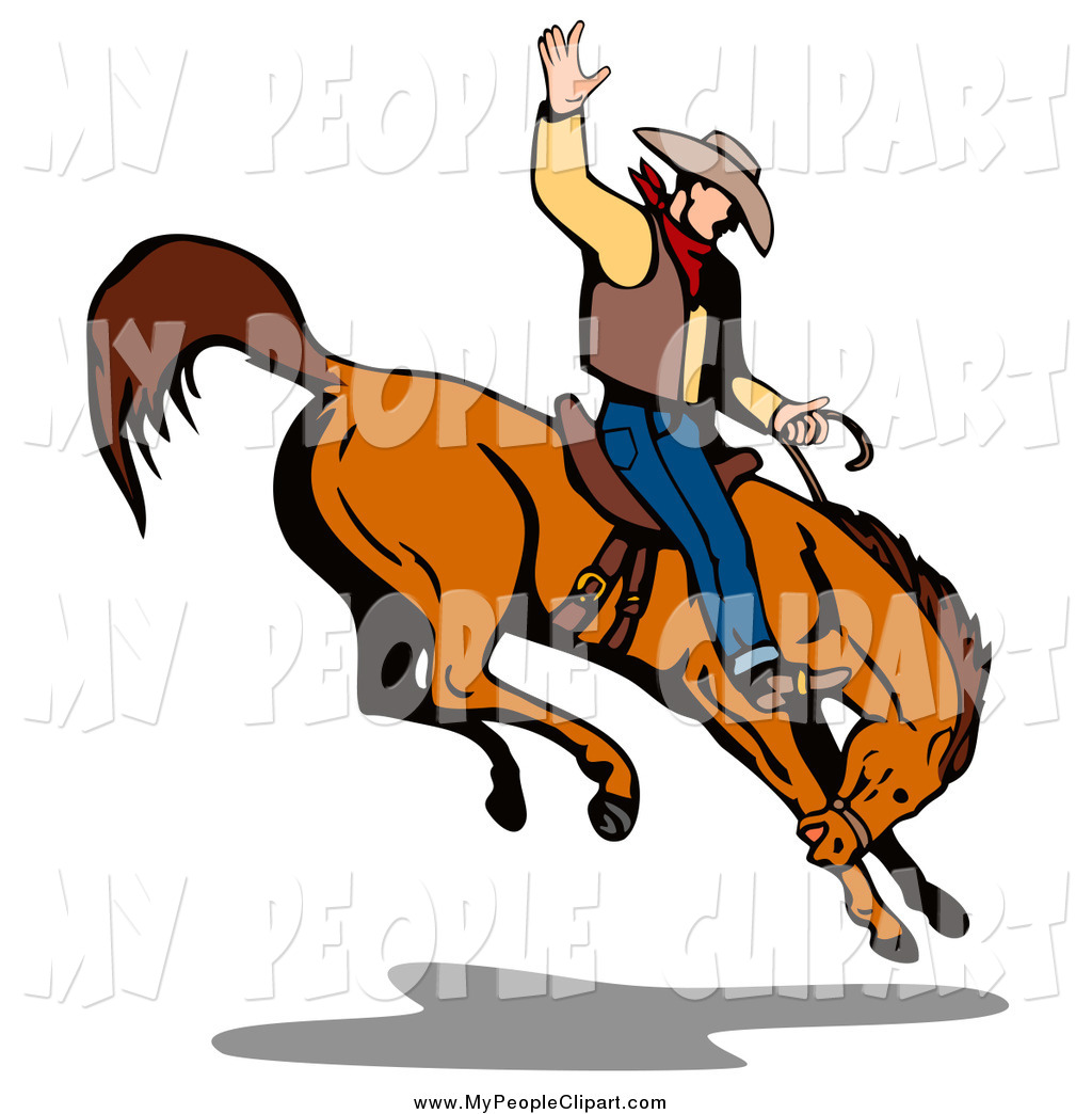 1024x1044 Clip Art Of A White Rodeo Cowboy Riding A Bucking Horse By