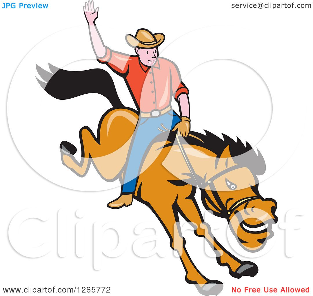 1080x1024 Clipart Of A Cartoon Male Rodeo Cowboy On A Bucking Horse