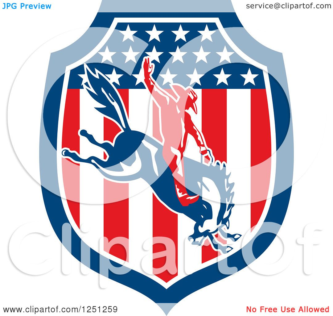 1080x1024 Clipart Of A Retro Rodeo Cowboy On A Bucking Horse In An American