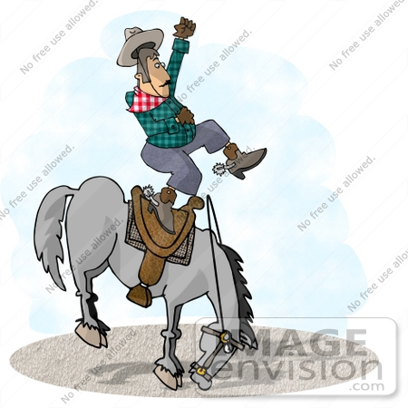 450x450 Cowboy Man Being Bucked Off Of A Bronco Horse In A Rodeo Clipart