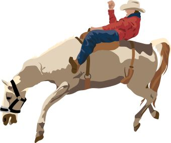 340x284 Vibrant Rodeo Clipart Of A Black And White Cowboy On Bucking Horse