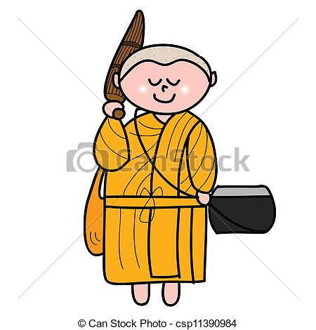 450x470 Buddhist Monk Cartoon Hand Drawn Illustration Vector