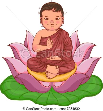 436x470 Newborn Buddha Boy Sits In Lotus Flower. Isolated On White