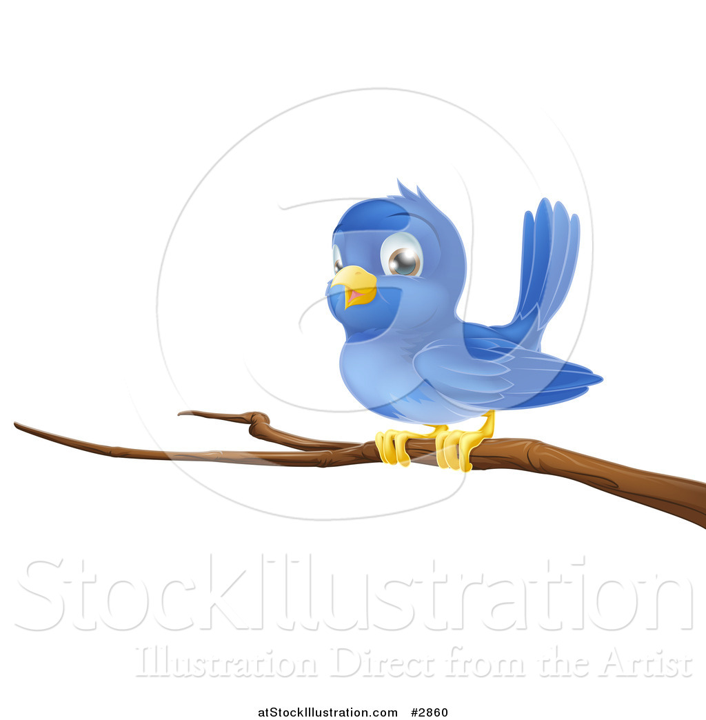 1024x1044 Vector Illustration Of A Cute Blue Bird Perched On A Bare Tree