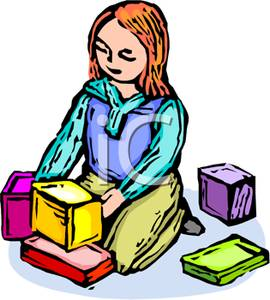 270x300 Clip Art Image A Girl Kneeling And Playing With Building Blocks