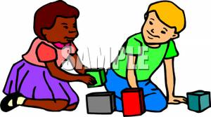 300x167 Clip Art Image Two Kids Playing With Building Blocks