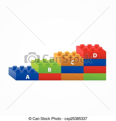450x470 Plastic Building Blocks Stairs. Isolated On White Vectors
