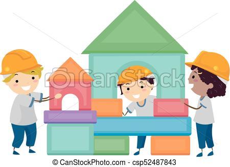 450x327 Stickman Kids Building Blocks Illustration. Illustration Of Eps