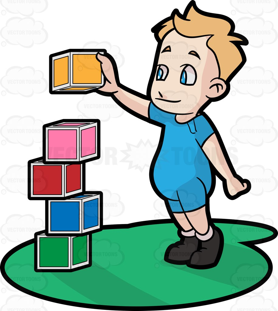 915x1024 A Male Toddler Building Blocks Cartoon Clipart Vector Toons