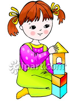 263x350 Young Girl Building With Blocks