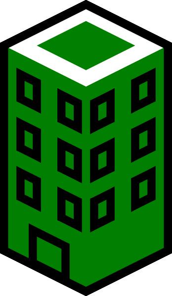 348x599 Office Building Green Clip Art