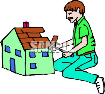 350x315 Royalty Free Clipart Image Man Building A Dollhouse