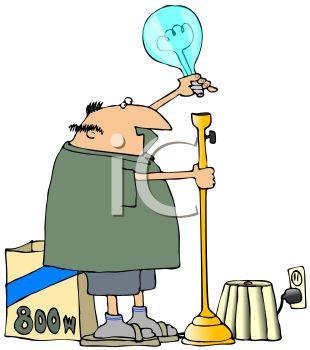 310x350 Cartoon Fat Man Changing A Light Bulb