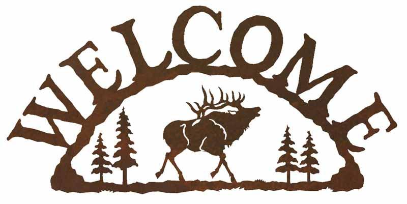 800x401 Bull Elk With Pines Rustic Metal Welcome Sign Inspired By