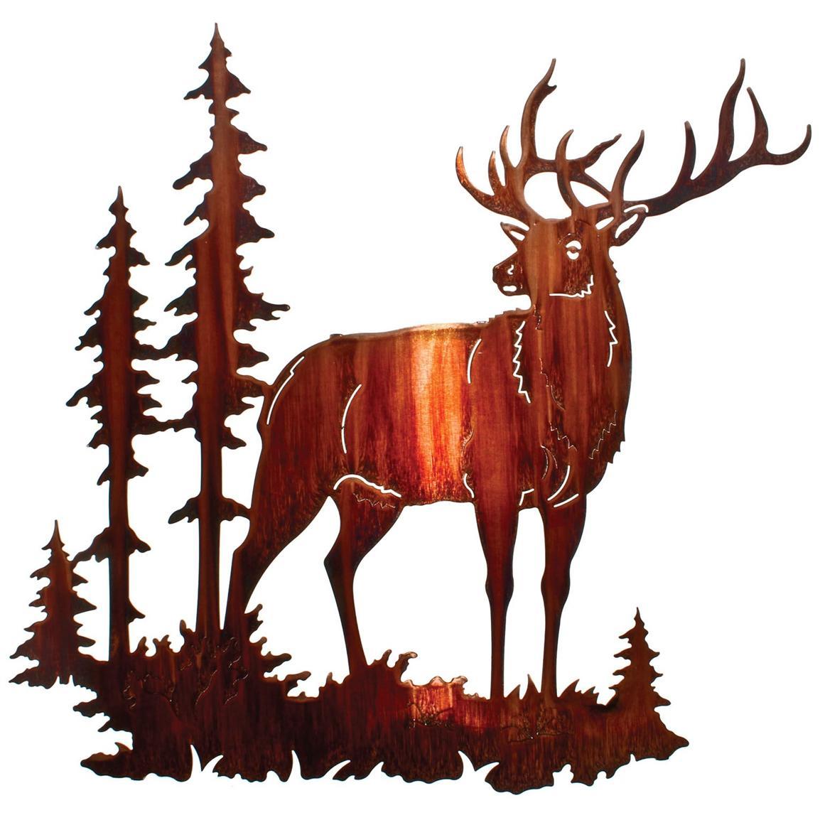 1154x1154 Majestic Bull Elk Wall Art, Honey Pinion