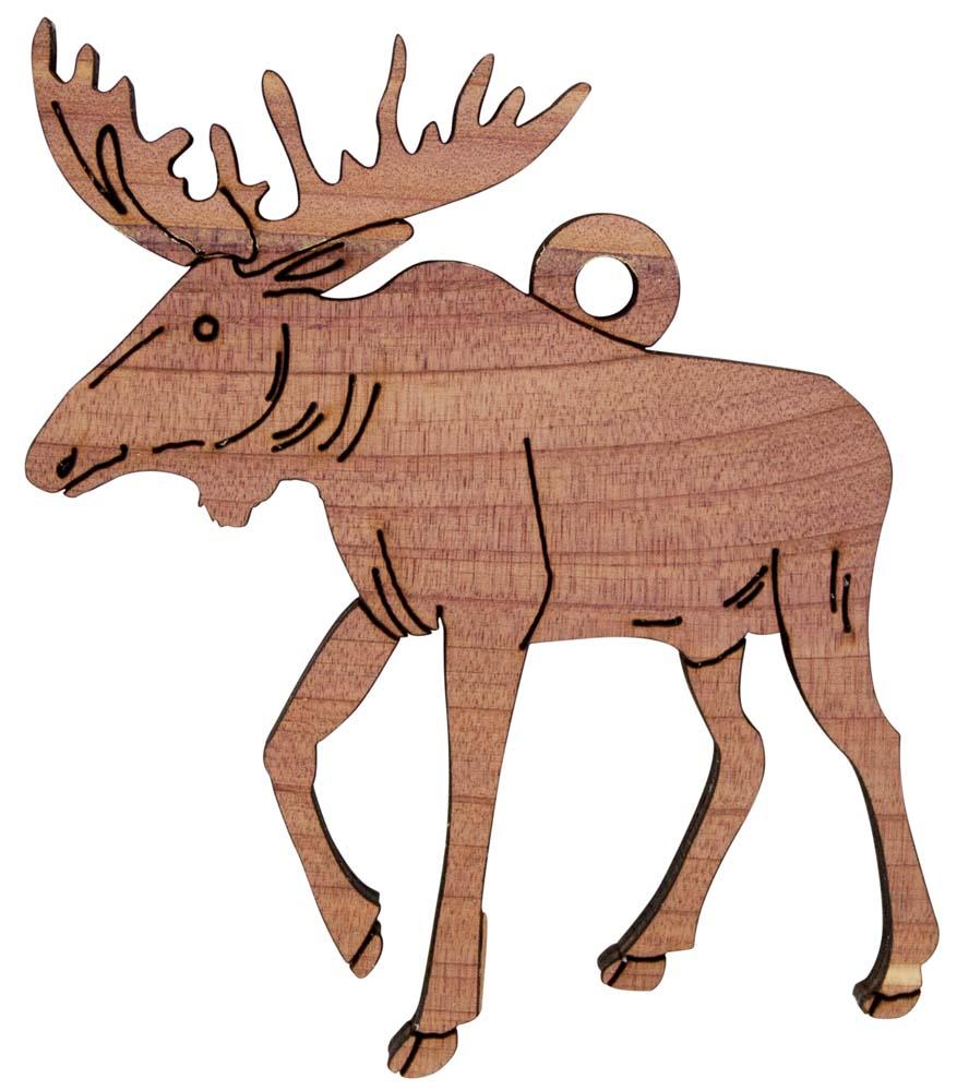 877x1000 Laser Engraved Moose Christmas Tree Ornament Birch Or Cedar Wood