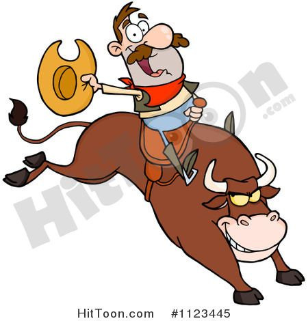 450x470 Cartoon Of A Rodeo Cowboy On A Bucking Bull