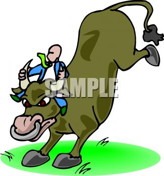 325x350 Clip Art Illustration Of Man Riding An Angry Bull Kicking Up His