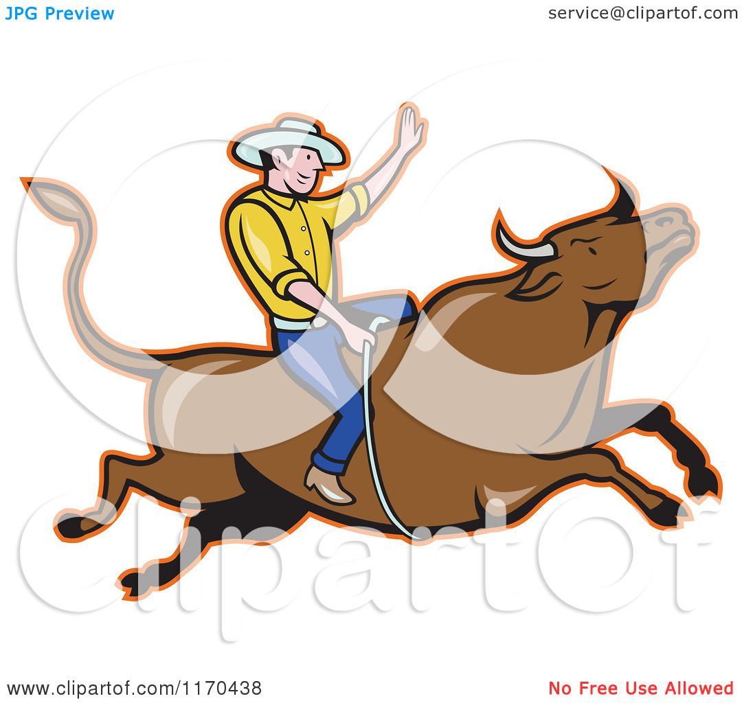 1080x1024 Clipart Of A Cartoon Rodeo Cowboy On A Bull