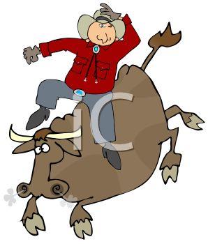 298x350 Cowboy Riding A Bull