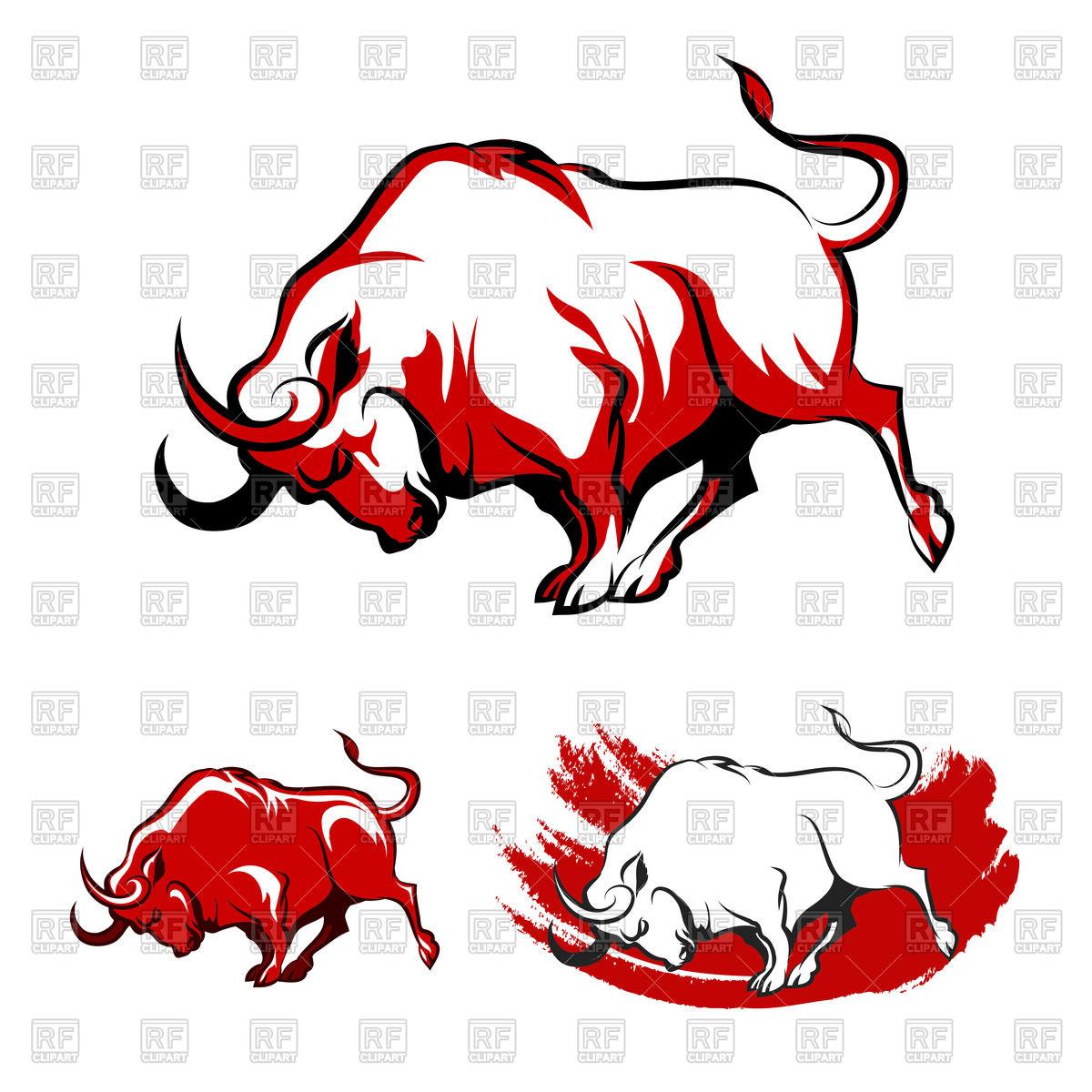 1200x1200 Fighting Bull Emblem Set Royalty Free Vector Clip Art Image
